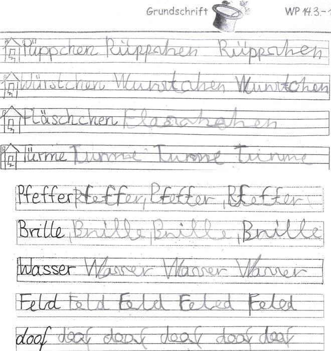 Handschrift Schreibschrift Grundschrift Handschrift In Der